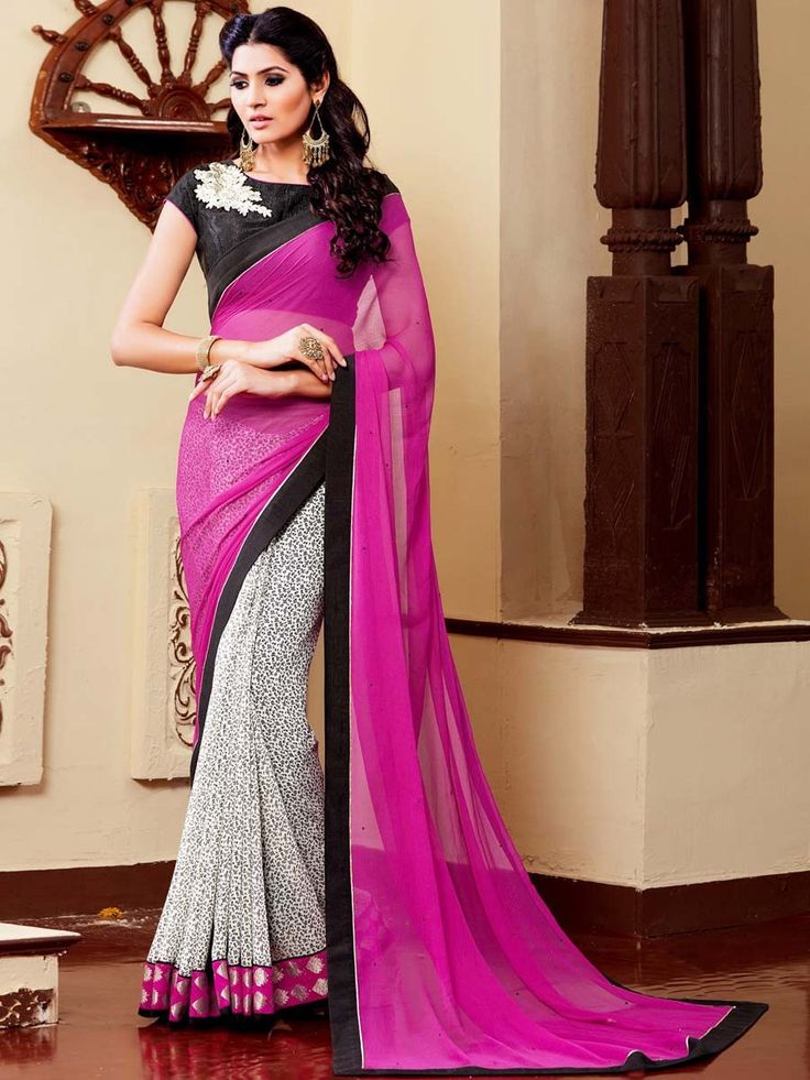 Entirely different looking outfit with fashionable staple.  Item Code: SDH1723 http://www.bharatplaza.com/new-arrivals/sarees/chiffon-n-georgette-saree-sdh1723.html