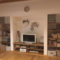 pink-mapleさんの、リビング,テレビ,パソコン,収納,テレビ周り,シェルフ,ナチュラルインテリア,おもちゃ収納,プリンター,コットンフラワー,のお部屋写真