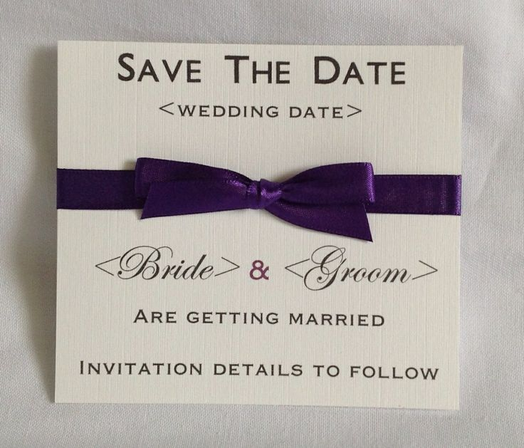 Cadbury purple Classic save the date card. Available in any colour to match the theme and style of your wedding.