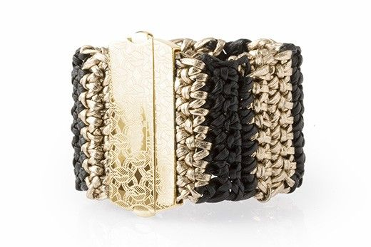 Leather bracelet cuff, handmade and crochet braided.