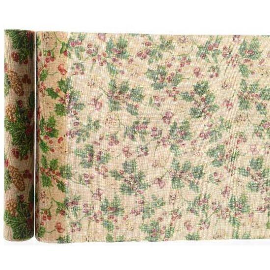 Kerst tafelloper dennenappel 35 x 200 cm. Jute kerst decoratie stof of tafelloper met dennenappeltjes print.