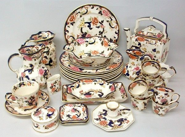 A quantity of Masons ironstone pottery decorated in the 'Mandalay' pattern, comprising; tea kettle, four graduated hydra jugs, chamber stick, three dishes, seven dinner plates, tea cup and saucer, two tea plates, six coffee cups and saucers, dressing table box and cover, pair of ashtrays and a match holder.