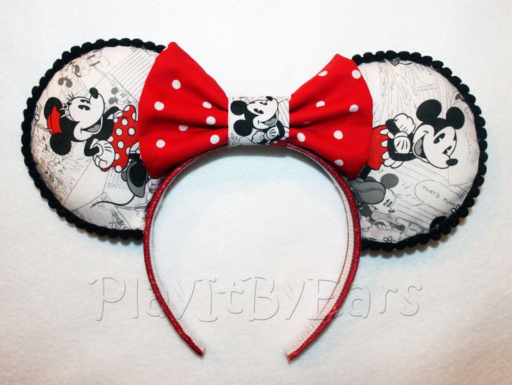 "custom minnie mouse ears | Handmade ""Mickey n Minnie"" Vintage Comic Custom Mouse Ears inspired by ..."