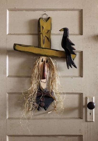Scary Scarecrow Wooden Door Hanger Craft Ideas