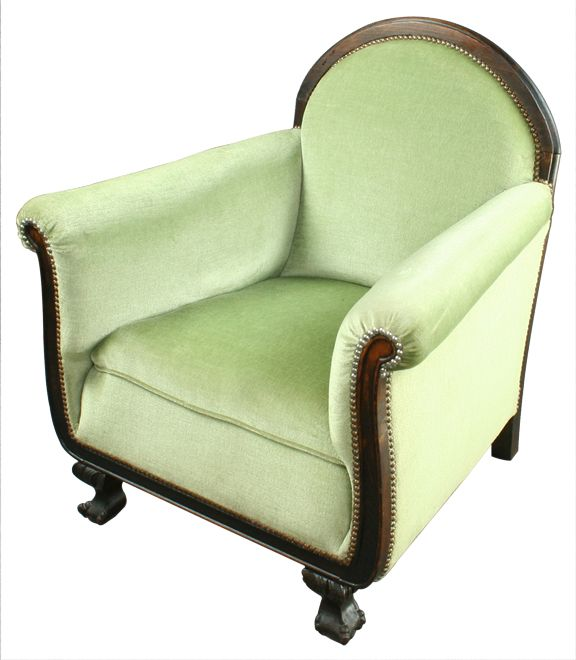 antique french art deco green armchair bergere chair