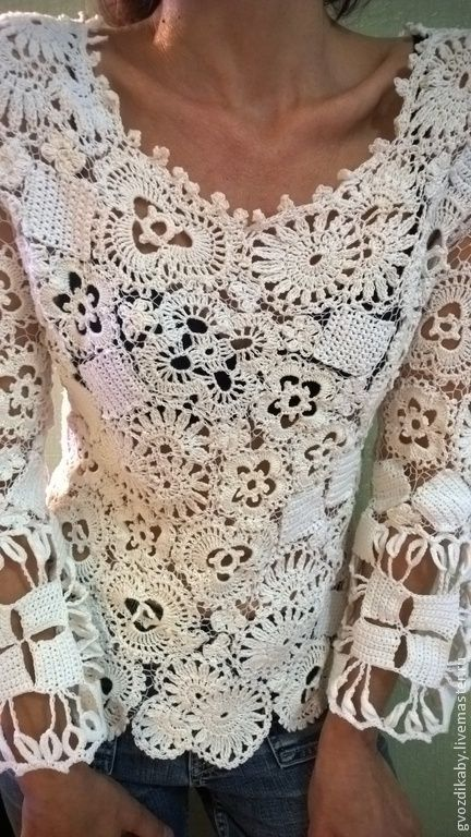 Irish crochet white tunic. Boy do I want this. How do you turn crochet motifs into clothing?