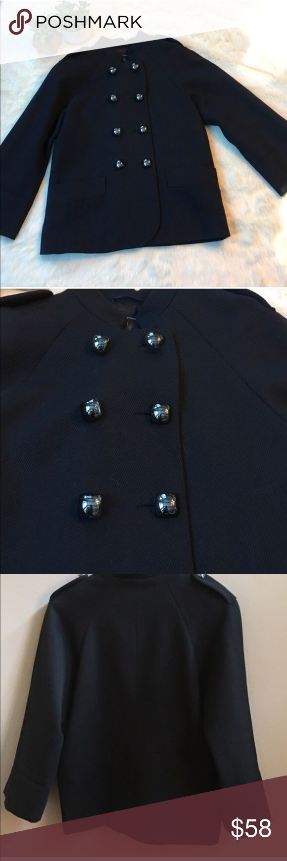 French Connection navy jacket w/silver buttons Dark navy blazer with chunky silver buttons. Excellent condition. Military look. Wide sleeves. French Connection Jackets & Coats