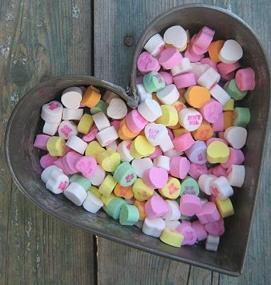 candy... my sister still looks for them every st valentines day...