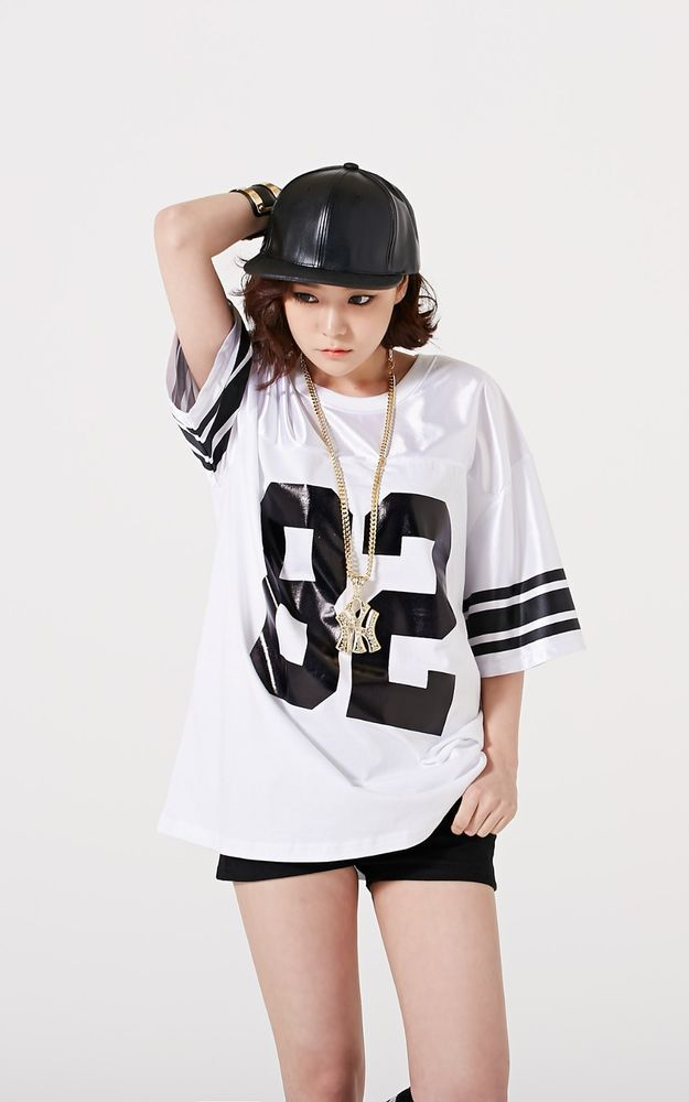 reference, photo, woman, pose,Premium Korean Fashion Women's Number Printed Hip Hop Shirt - Made in Korea