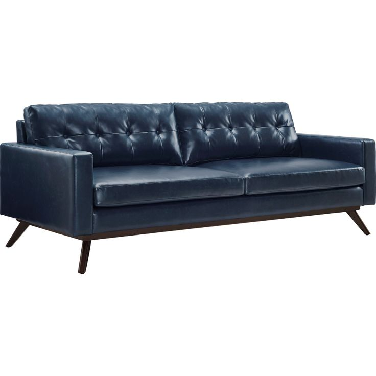 TOV Furniture Blake Antique Blue Tufted Eco Leather Sofa w\/ Brown