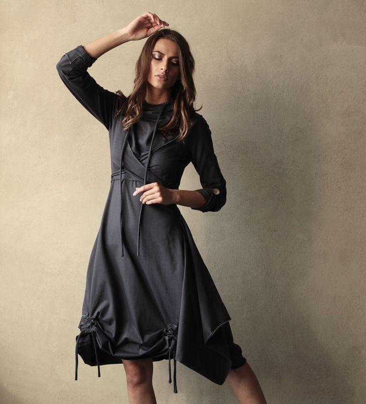"""Купить Платье """"Полимино-Мокрый асфальт"""" с возможностью вариаций элементов - темно-серый, мокрый асфальт"""