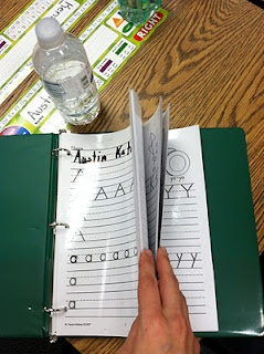 "I should do this with language or artic sheets as a ""station"" if I need some one on one time during a group:  laminate a set of handwriting worksheets & place in a binder with expo marker/eraser. Use clear page protectors for a center, student does not erase to allow for progress check."