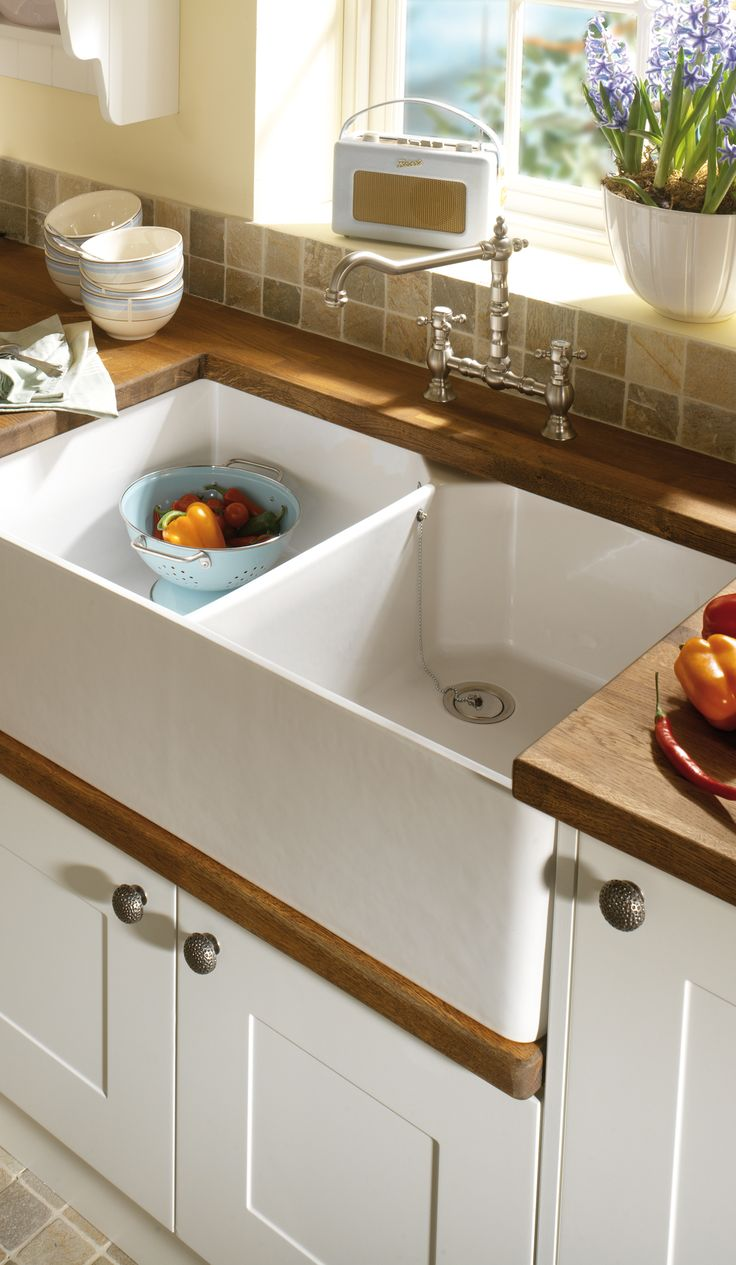 Contemporary sink made of white fireclay with high gloss ceramic finish