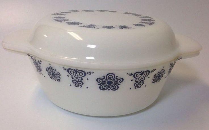 Vintage Rare Pyrex Black & White Butterfly Gold Casserole Dish w/lid #PyrexPatternDuropal
