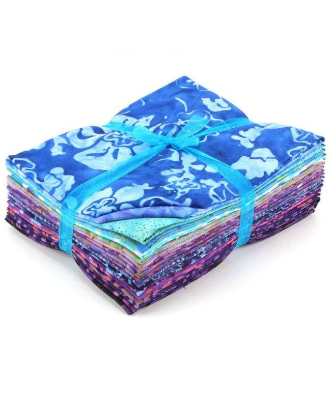 LOUDelephant Cotton Batik Fat Quarter Pre Cut Fabric Bundle - Blues & Purples