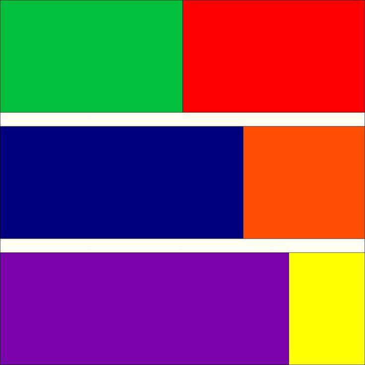 De drie complementaire kleurcontrasten: groen-rood, blauw-oranje en paars-geel.