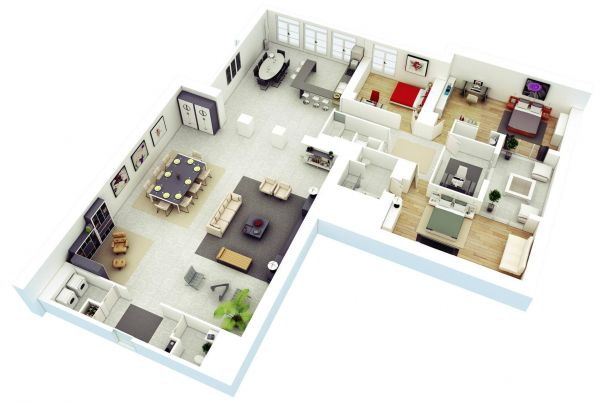 An L-shaped house allows for plenty of privacy in the bedroom win and tons of space in the living area.