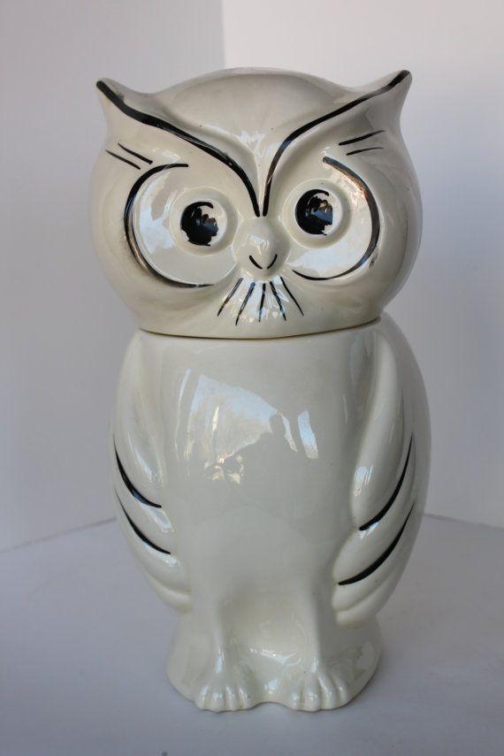 Vintage OWL COOKIE JAR White Black Decoration by PixieGoes2Market, $48.00