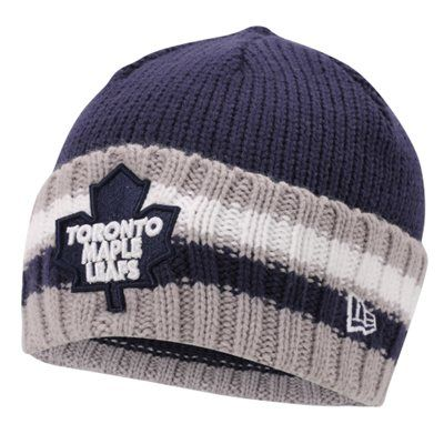 Mens Toronto Maple Leafs New Era Navy Blue Cuff Striper Beanie