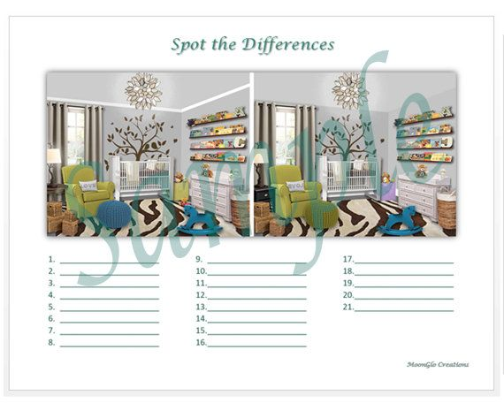 Spot the differences game sheets Baby's by MoonGloCreations