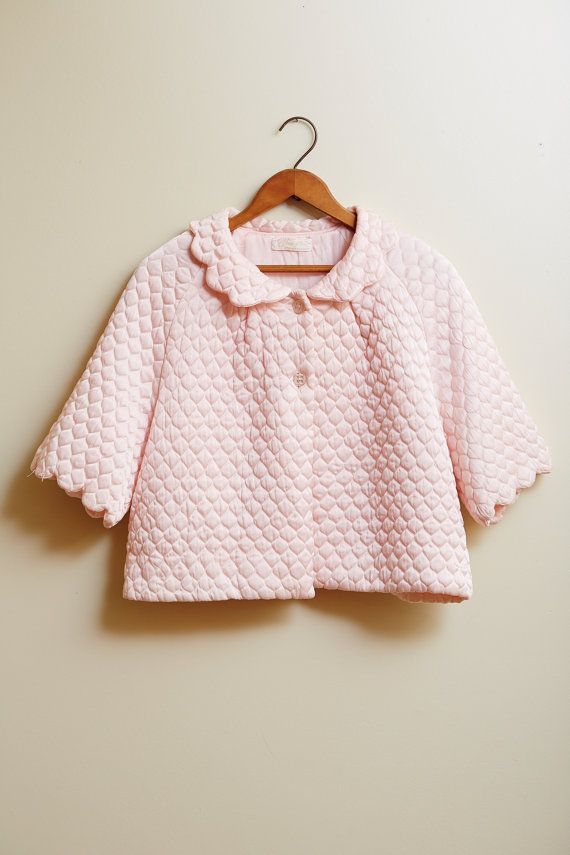 1950s Satin Baby Pink Barbizon Pretti Puff Bed Jacket Vintage Lingerie