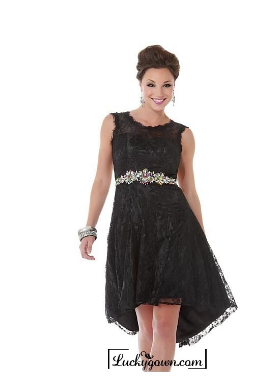 Buy Alluring Lace Jewel Neckline Hi-lo A-line Cocktail Dress Online Dress Store At LuckyGown.com