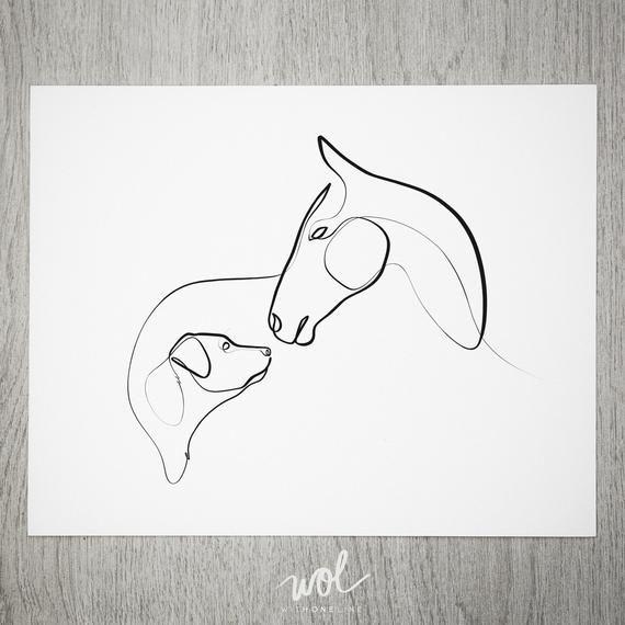 Cheval et chien Art, impression de cheval, Minimal cheval et chien, un dessin au trait, Art de laboratoire, cadeaux de cheval, dessin au trait, Labrador Retriever Art   – Tattoo