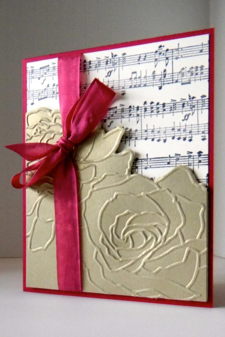 Scrapbook ideas music - Manhattan Flower Embossing Folder Over Sheet Music