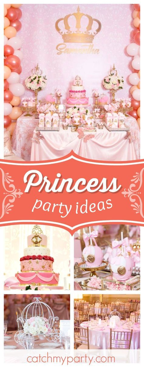 Take a look at this pretty Princess birthday party! The birthday cake is stunning!! See more party ideas and share yours at CatchMyParty.com #partyideas #princess