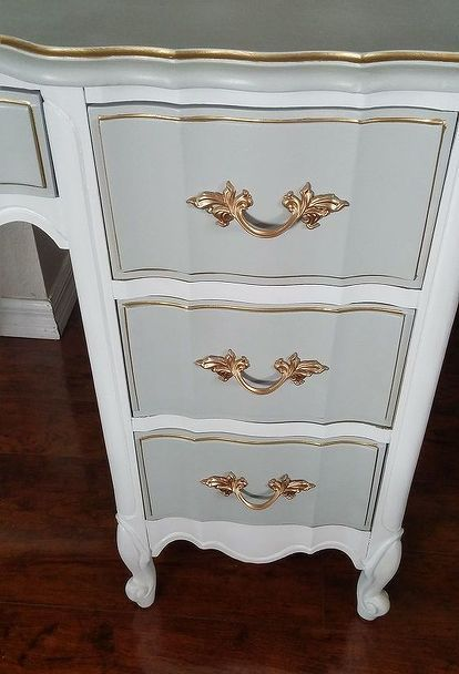 french provincial desk makeover, painted furniture, shabby chic #girlsshabbychicbathrooms #shabbychicfurnituremakeover
