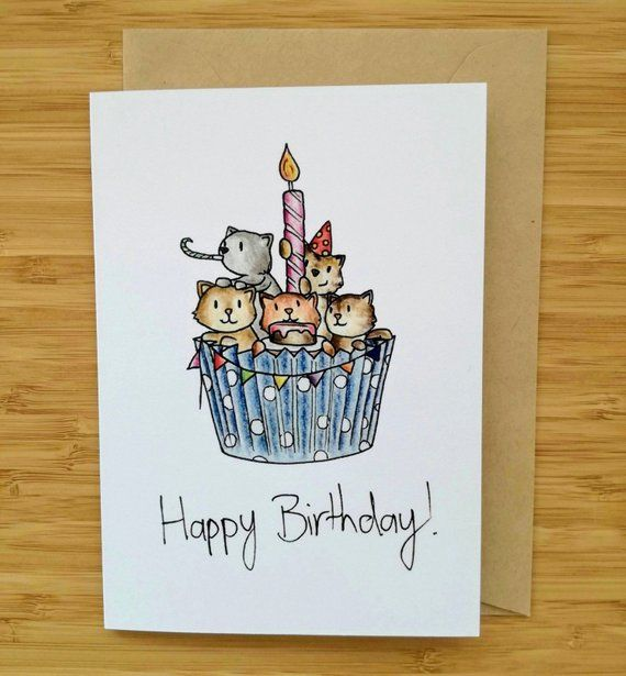 Cats In A Cupcake Birthday Card Cat Lover Birthday Card Cute Birthday Card Hand Drawn Birthday Card Cat Cupcake Cat Card Birthday Card Drawing 18th Birthday Cards Cat Birthday Card