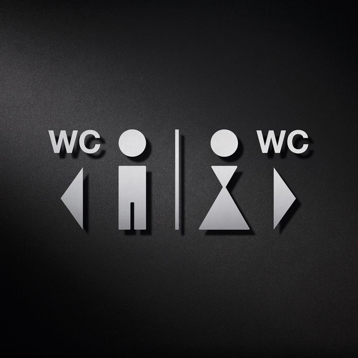 WC-Schilder mit Wegweiser als Piktogramm Kombination mit Symbolen für Herren-WC und Damen-WC mit entsprechenden Richtungspfeilen.