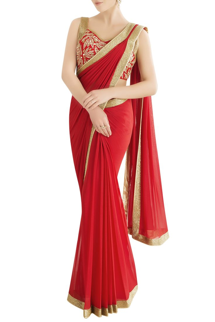Shop Rajat & Shraddha - Red embroidered sari Latest Collection Available at Aza Fashions