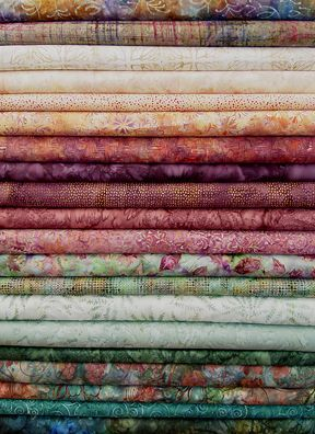 Misty Garden Batik Strips js20-011 - batiks in soft and soothing shades, like a garden on a rainy day. Mauve, apricot, sage, and teal. Simply lovely!