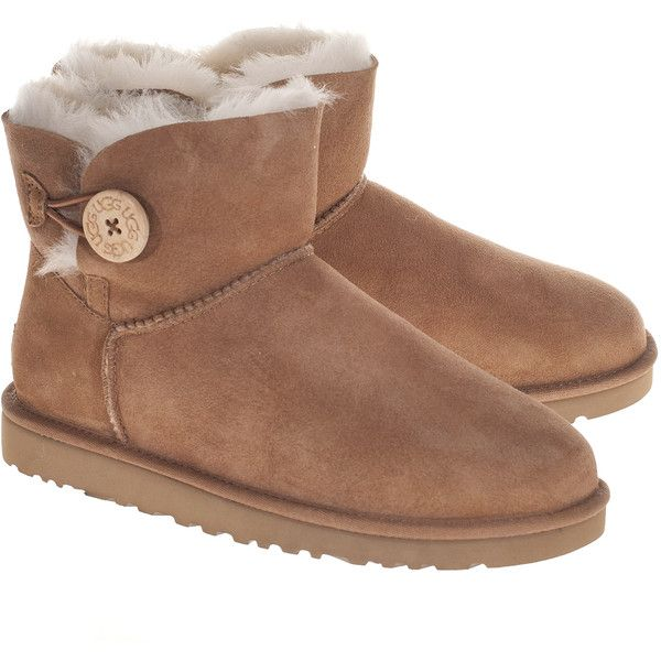 UGG Mini Bailey Button Chestnut // Short shearling boots with button ($200) ❤ liked on Polyvore featuring shoes, boots, ankle booties, uggs, cognac boots, shearling booties, ugg australia, short booties and shearling boots