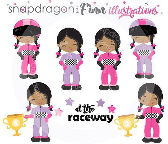 Buy5get5 Girl Racing Clipart Pink Purple Race Car Clipart Etsy Racing Girl Clip Art Pink Purple