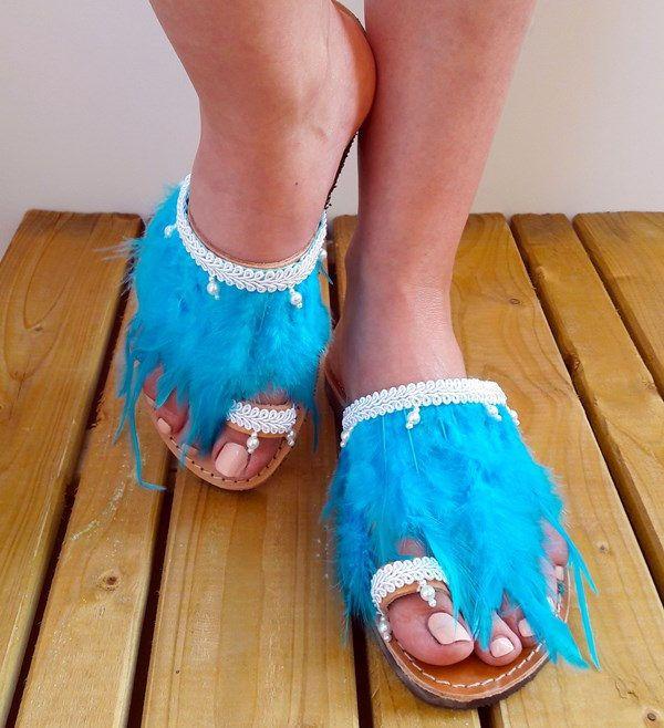 "Slip On Sandals, Wedding Sandals, Slide Sandals, Handmad Greek Sanadals, Leather Sandals, Bridal Sandals ""Santorini"""