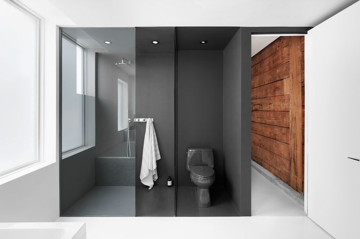 A original hemlock wood wall clads the corridor leading to the bathroom. Just inside, the dark gray epoxied shower area (with a Cimarron Kohler toilet) forms a solid contrast to the white walls and floors.