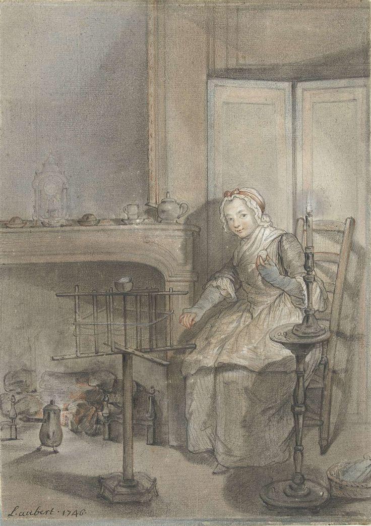 Interieur met een wolkluwende jonge vrouw, Louis Aubert, 1746