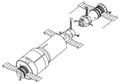 Salyut 1 and Soyuz drawing.Salyut 1 (DOS 1, Rusça: Салют-1), tarihteki ilk uzay istasyonu, Salyut serisi uzay istasyonlarının ilki. 19 Nisan 1971 tarihinde Sovyetler Birliği tarafından fırlatıldı. Uzay Yarışı'nda ABD'nin Ay'a ilk insanı göndermesine Sovyetler'in cevabı olarak görülür. İlk mürettebatı Soyuz 10 güvertesinde kenetlenmeyi başardı, ancak bir arıza nedeniyle istasyona geçemedi. İkinci mürettebatı Soyuz 11 ile istasyona ulaştı ve 23 gün kalarak verimli çalışmalarda bulundu. Ancak…