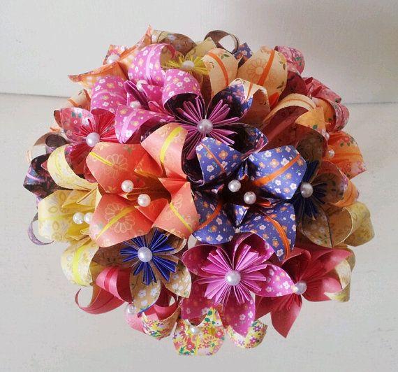 paper flower origami bridal bouquet statement piece roses