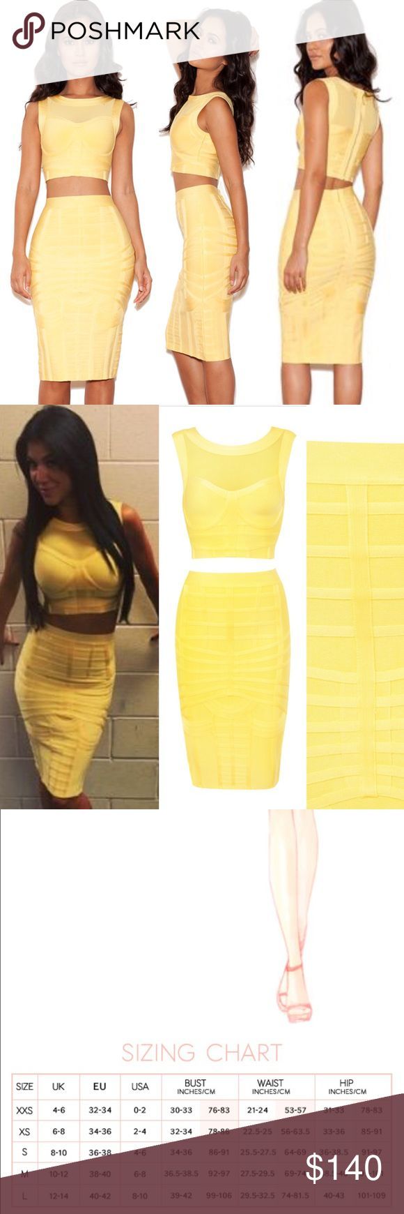 "NWOT House of CB Lemon Yellow Two Piece Midi Dress Super gorgeous ""Saeko"" heavily banded design, mesh details and figure flattering cut Bustier shaped cropped top with sleeveless design and knee length skirt combine beautifully to create the perfect bandage two piece.  SIZE: SMALL House of CB Dresses Midi"