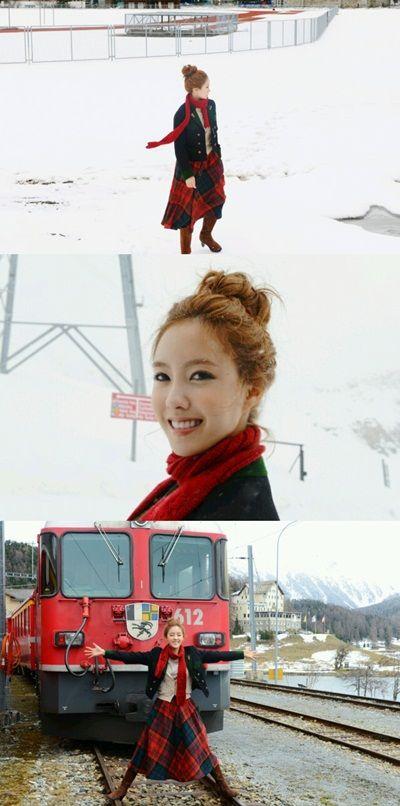 T-ara's Hyomin parodies 'Peppermint Candy' scene while in Switzerland #allkpop #kpop #TARA