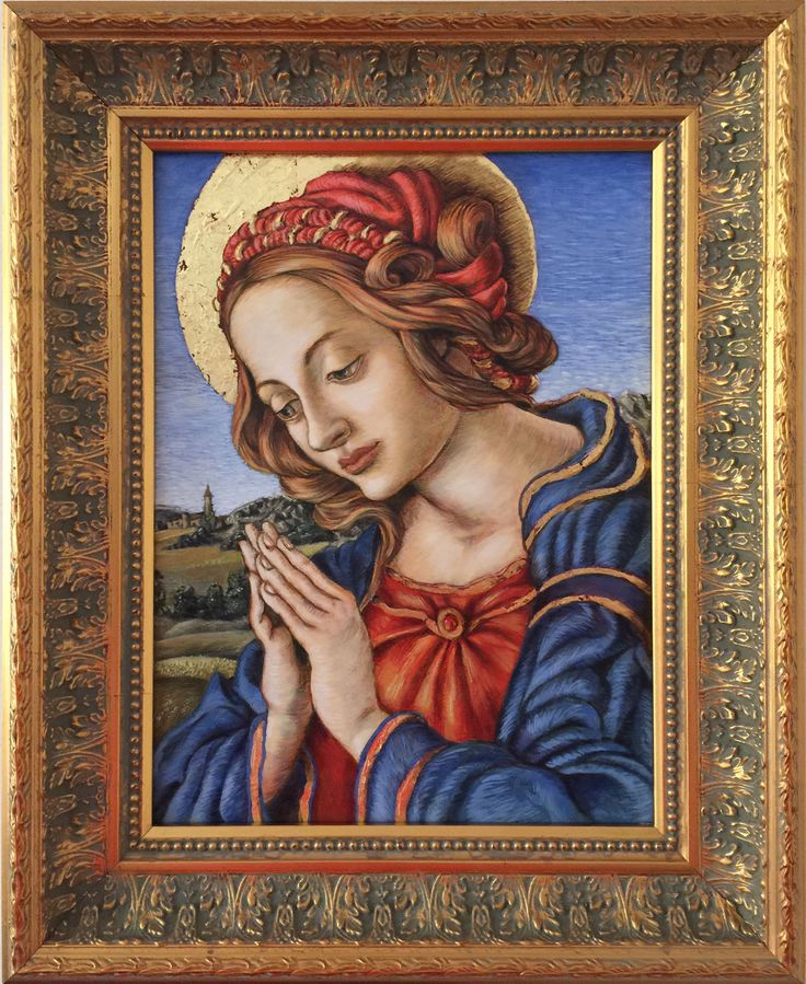 Artist J. Hoyle - Madonna (after Botticelli & Lippi) in oils with 23crt gold leaf. Tresillian Art Centre 'Painting a Small Icon' course. Tutor: Giada Dalli Cani. 4 May - 29 June 2015.