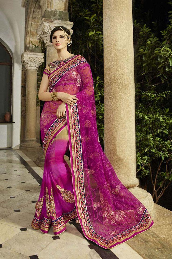 Pink Net Bridal Saree