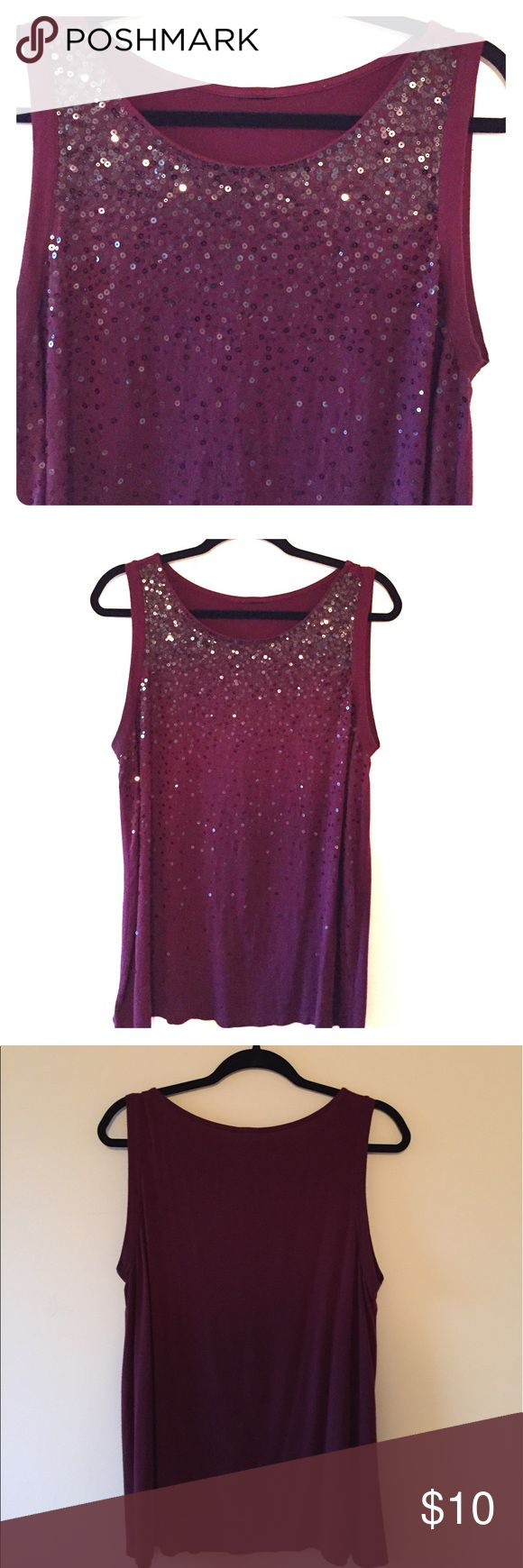 """Sequin Tank Top 1x Sequined Tank Top, size 1x. B 44"""" W 44"""" L 28"""". Rayon/Viscose. Size 1x. Reitmans Tops Tank Tops"""