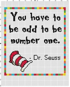 You have to be odd to be number one - Dr. Seuss Quote - Cross Stitch Pattern - Instant Download by SnarkyArtCompany on Etsy