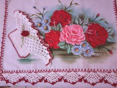 Eliana Pintura e Crochê: Pano de prato pintados com cesta de crochê