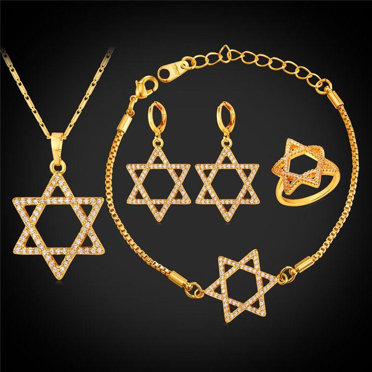 Star Of David Bridal Wedding Jewelry Sets Necklace