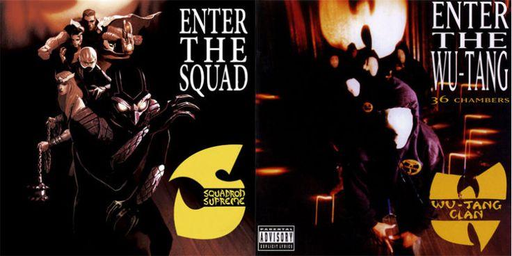 """Squadron Supreme"" et le Wu-Tang Clan sur ""Enter the Wu-Tang"" (Crédits image : Mike Del Mundo / Marvel)"